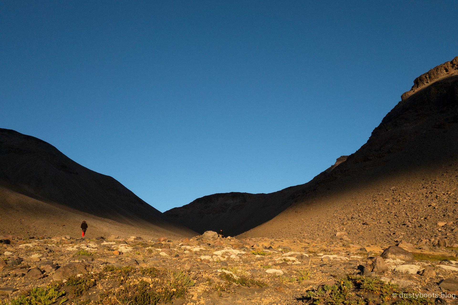 Sonnenuntergang im Valle de Aguas Calientes in Chile