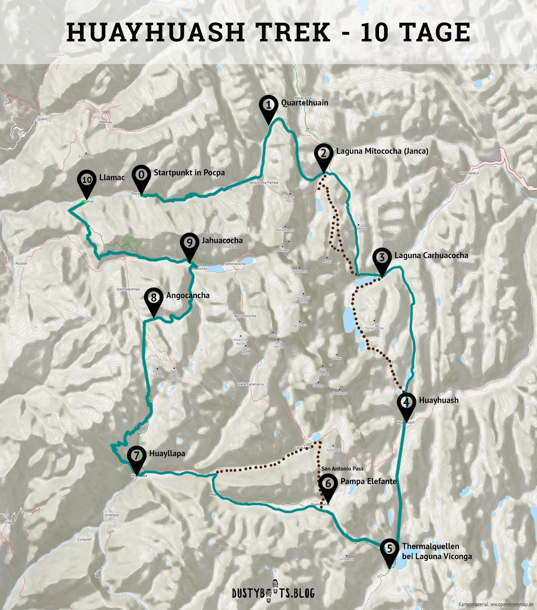 Karte vom Huayhuash Trek in Peru für die Umrundung in 10 Tagen