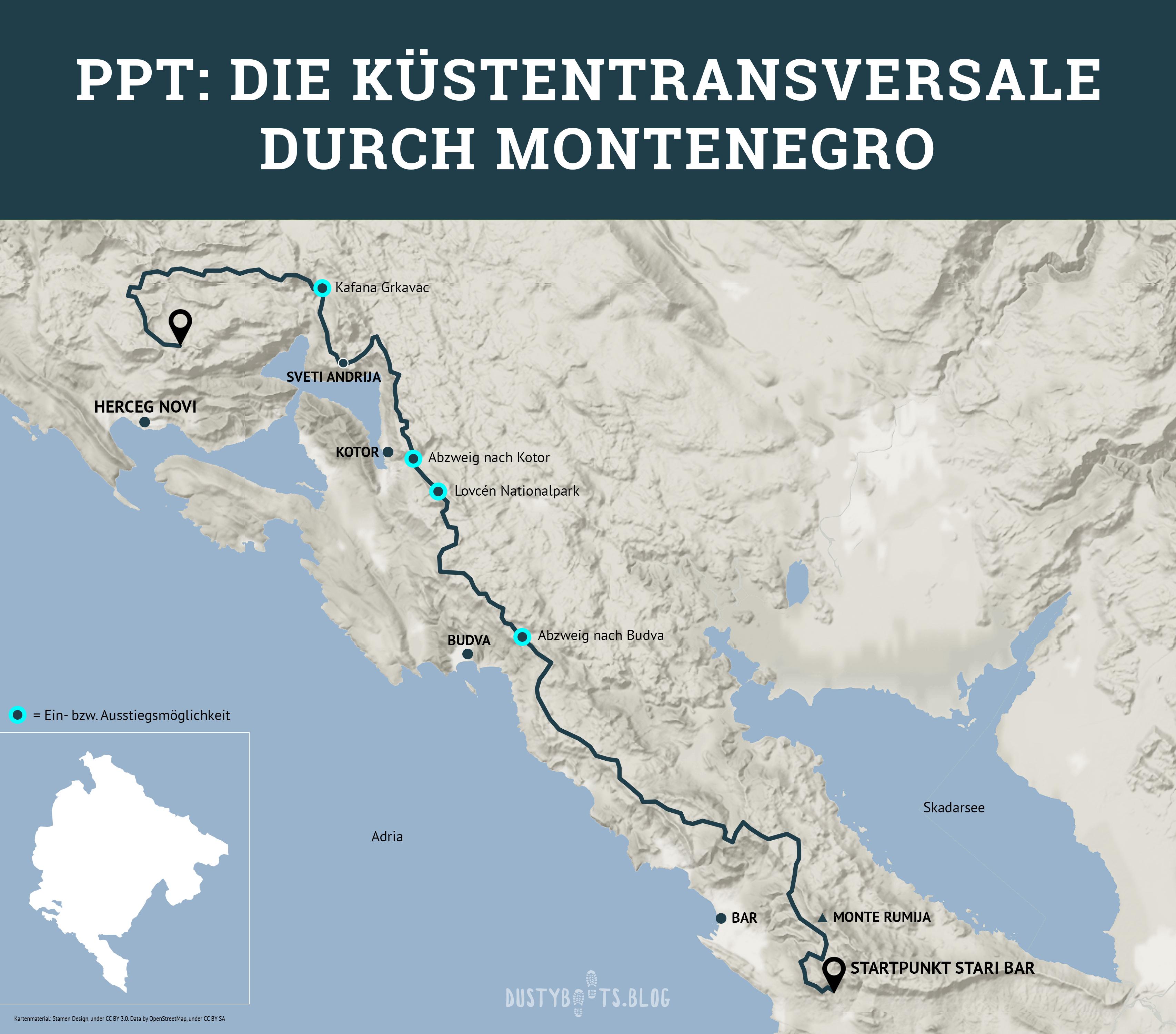 Montenegro PPT Überblickskarte